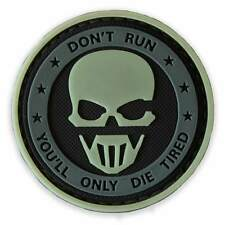 3D PVC Don't Run Military Tactical Army Sniper Morale Patch Glow in the Dark