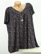 Shirt mit Kette Top Tunika Bluse Lagenlook Gr. 46- 54 one size schwarz geblümt w