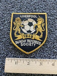 """Patch Liverpool Sunday Referees Society 1949 Soccer Football 4"""" x 3.5"""""""