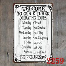 Metal Tin Sign welcome to our kitchen Decor Bar Pub Home Vintage Retro Poster
