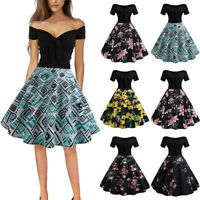 Womens Off Shoulder 1950S ROCKABILLY Style Swing Pinup Retro Party Dress