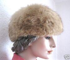 Buschige Pelzmütze Pelzkappe Echtpelz Pelzhut camel echt Vintage Nr.16