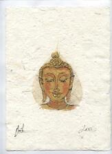 Original Ink and Oil with Bodhi Leaf   Buddha Image    Vientiane Laos       BL03