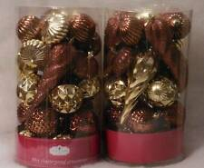 60 Shatterproof Christmas Ornaments Browns and Golds NIB