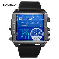 Sports Creative Mens Watches 3 Time Zone Leather Strap Square Quartz Wristwatch