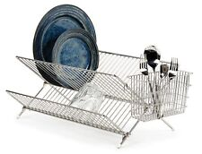 Chrome Kitchen Sink Dish Drainer Plate Cups Dry Rack With Cutlery Caddy Folding