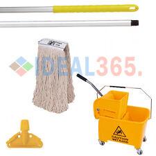 More details for kentucky mop bucket combo set - bucket, wringer, handle, & mop head (yellow)