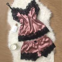 Sexy Lingerie Women Silk Lace Solid Sleeveless Dress Babydoll Nightdress Sleepwe