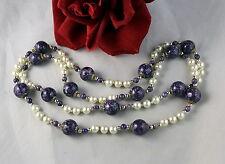 Genuine Pearl Purple Beaded Neckalce FERAL  CAT RESCUE