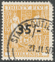 """NEW ZEALAND 1939 """"ARMS"""" SG F186? 35/- ON 35s ORANGE YELLOW FISCAL USED"""