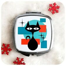 More details for retro cat compact mirror, black cat make up mirror, mid century atomic cat gift