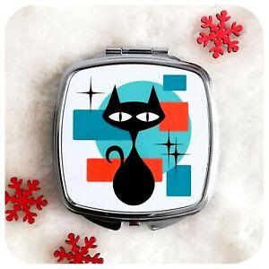 Retro Cat Compact Mirror, Black Cat Make Up Mirror, Mid Century Atomic Cat Gift