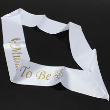 White Party Favor Mom Mummy To Be Satin Sash Banner Ribbon Baby Shower
