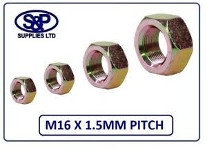 M16 FINE PITCH 1.5MM HEX FULL NUT 16MM ZINC YELLOW PLATED M16 X 1.5MM PITCH GR 8