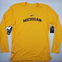 Michigan Wolverines Nike Alpha Dri-Fit On Field Men's Long Sleeve T-Shirt Maize