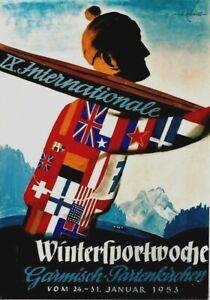 Original vintage poster WINTERSPORTS SKI GARMISCH GERMANY 1953