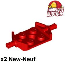 Lego - x2 Plate Modified 2x2 Fixa. roue Wheels Holder Wide rouge/red 6157 NEUF
