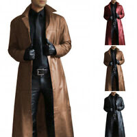 Men's PU Leather Coat Slim Fit Warm Long Sleeve Trench Gothic Steampunk Jacket