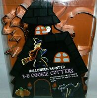 HALLOWEEN HAUNTED 3-D COOKIE CUTTERS  4 ct  HAUNTED HOUSE, CAT,PUMPKIN,WITCH