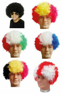 Patriotic Country Afro Wig Fancy Dress Costume, Party, Football