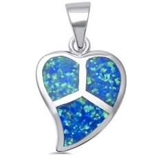 Blue Opal Heart Peace Sign .925 Sterling Silver Pendant