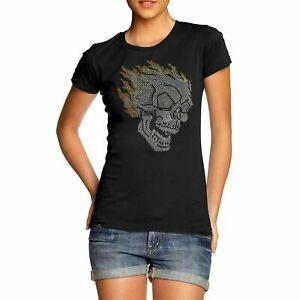 Women's Bling Flaming Skull Rhinestone Diamante T-Shirt