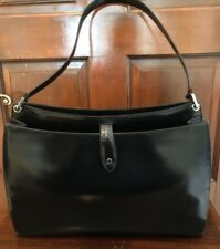 Bally Large black patent leather shoulder bag /  briefcase capabilities