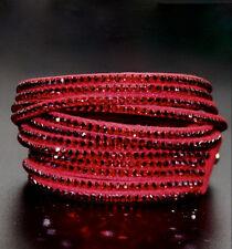 Slake Crystal Wrap Bracelet made w Swarovski Crystal Red Alcantara ® Leather