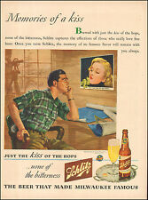 1944 WW 2 era beverage AD SCHLITZ BEER , ART Memories of a kiss 081217