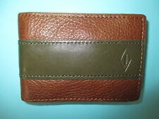 NEW FOSSIL Charles Money Clip Wallet ID BIFOLD LEATHER Cognac Brown Green Stripe