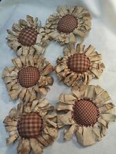Primitive Flowers Bowl Fillers Handmade Ornies/Grunged/Burgundy Check/Tucks