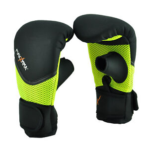 MaxxMMA Neoprene Washable Heavy Bag Gloves - Boxing Training, S/M or L/XL Neon