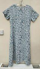 PATRA WHITE & TEAL GREEN 100% COTTON BUTTON FRONT DRESS M UK 12-14 FREE UK P&P!!