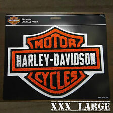 Harley Davidson Patch - Orange Classic Logo - XXX Large CHENILLE