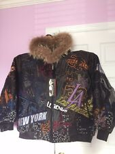 New Al Wissam Black Size 58  Mens Leather jacket coat NBA Style with Tags