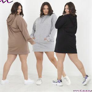 Womens plus size Hooded Sweatshirt Ladies longSleeve Sweater Hoodie Jumper Dress