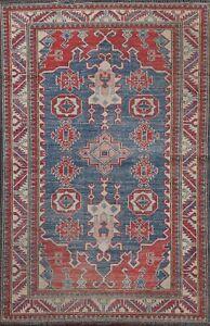 Geometric Super Kazak Oriental Area Rug Vegetable Dye Hand-knotted Wool Blue 3x5