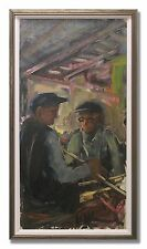 UNO HUBERT KARLSSON / TWO MEN AT WORK - Original Swedish Oil Painting