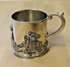 LENOX Silverplate Baby Cup Teddy Bear Caddy Kirk Stieff Collection Smithsonian