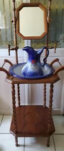 Vintage Wooden Wash Stand With Blue Floral  Pitcher & Basin