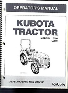 Kubota L3200 & L3800 Tractor Operator's Manual TC420-19713