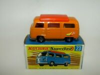 Matchbox Superfast No 23 Volkswagen Camper Van Orange ORANGE Int VNMIB VERY RARE