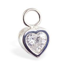 Changeable CZ Heart Belly Button Ring Swinger Charm Navel Rings