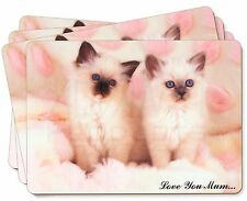 Birman Kittens Cat 'Love You Mum' Picture Placemats in Gift Box, AC-21lymP