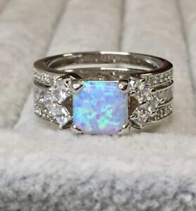 💙Size 9 Blue Iridescent Fire Opal & White Topaz GOGO Ring Bomb Party 2160 😍