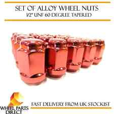 "Alloy Wheel Nuts Red (16) 1/2"" UNF Tapered for Jeep Grand Cherokee 1991-2010"