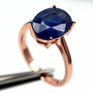 NATURAL 9 X 11 mm. BLUE SAPPHIRE MADAGASCAR 925 STERLING SILVER RING
