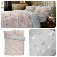 Fusion PENGUINS Christmas Bedding Duvet Cover Set Reversible Grey Brushed Cotton
