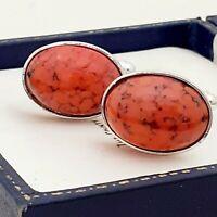 Vintage - CZECH 1950s Coral Orange Peking Glass - Oval Silver Plated Cufflinks