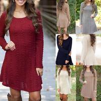 Fashion Women Winter Knitwear Knitted Sweater Jumper Long Sleeve Mini Dress Tops